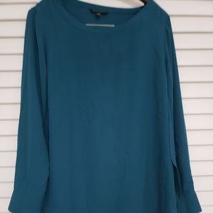 Teal boat neck banana republic blouse
